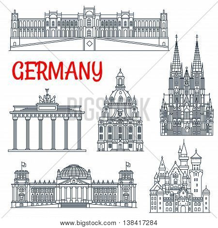 Tourism thin line Germany remarkable landmark. Travelling to visit places like Brandenburg gate and Neuschwanstein castle, Reichstag building and cologne cathedral, dresden frauenkirche in Berlin and Munich, Hohenschwangau Bavaria