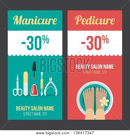 Vector manicure and pedicure discount flyer voucher coupon poster or banner templates. Flat style. Eps 10.
