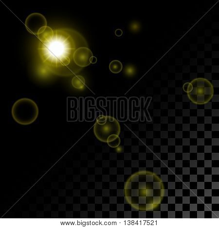 The realistic yellow gold sun or searchlight and patches of light on a pro-place transparent black background.