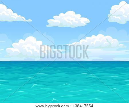 Sea summer landscape seamless background for game. Ocean, blue waves, sky, clouds, horizon. Vector illustration of a horizontal format.