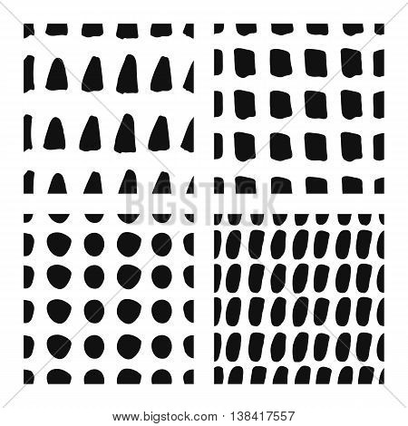 Hand drawn seamless patterns set ink doodle backgrounds grunge style abstract texture with circles triangles and spots.