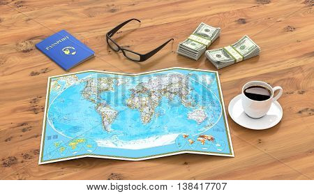 travel vacation travel tourism layout - close-up map of the world passport money a cup of coffee or tea and glasses on a wooden table. 3d illustration
