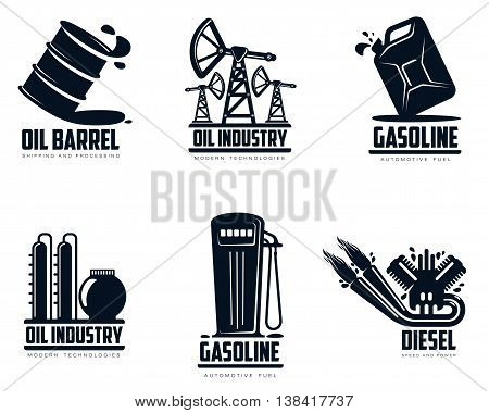 set of logos with oil and petrol station, minimalistic illustration isolated on white background, combustion and oil production, transportation of oil and gasoline