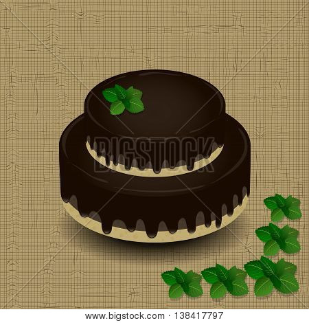 two-tiered chocolate cake with a sprig of mint on the texture background
