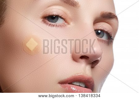 Close-up Portrait Of Beautiful Woman's Purity Face