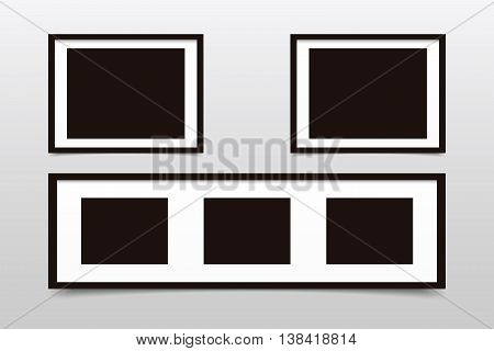 Set of photo frames collage and square. Vector illustration