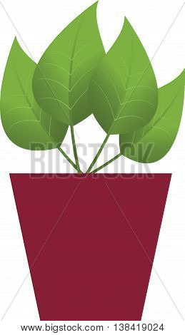 Icon of pot with flower in flat design. Vector illustration