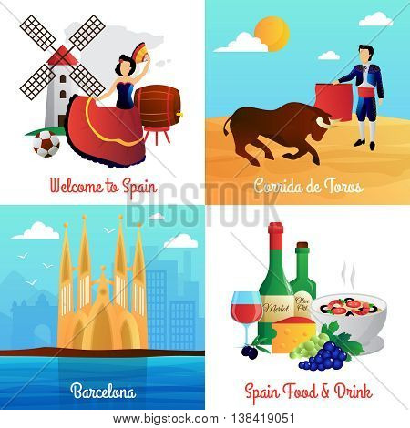 Spain travel with flamenco barcelona cathedral corrida and food 4 flat icons square poster abstract vector isolated illustration
