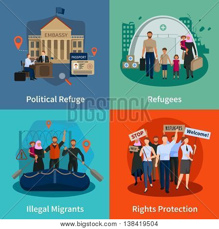 Stateless refugees  2x2 design concept set of political refuge illegal immigrants rights protection meeting flat compositions  vector illustration