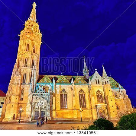 Budapest, Hungary-may 06, 2016: St. Matthias Church In Budapest. Night Time.