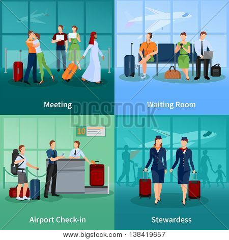 Airport flat 2x2 design concept set of passengers with baggage meeting and waiting people and stewardesses vector illustration