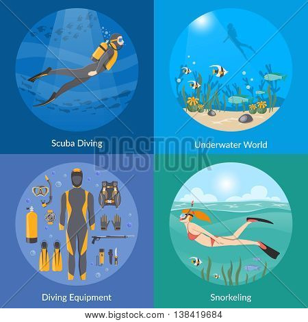 Diving and snorkeling 2x2 design concept set with diving equipment divers in underwater environment and girl swimming in mask snorkel and fins flat vector illustration