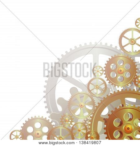 bronze gears on the white background vector illustration clip-art