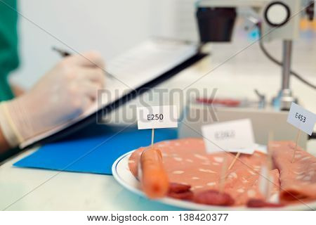 Laboratory testing of cured meat products selective focus