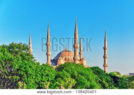 Istambul,turkey-may 07,2016:beautiful Sultan Ahmed Mosque Is A Historic Mosque In Istanbul, Turkey.