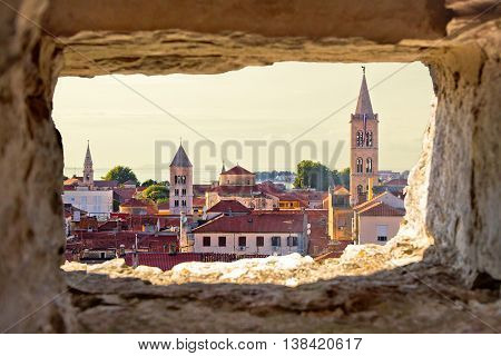 Old city of Zadar aerial view through stone window Dalmatia Croatia