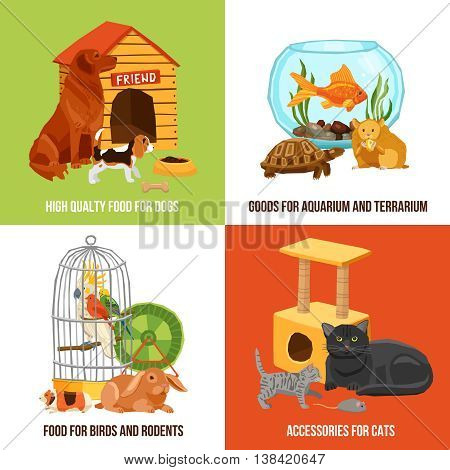 Home pets 2x2 design concept set of high quality food and accessories for dogs cats birds and rodents vector illustration