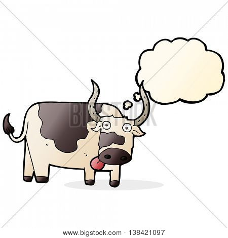 cartoon bull with thought bubble