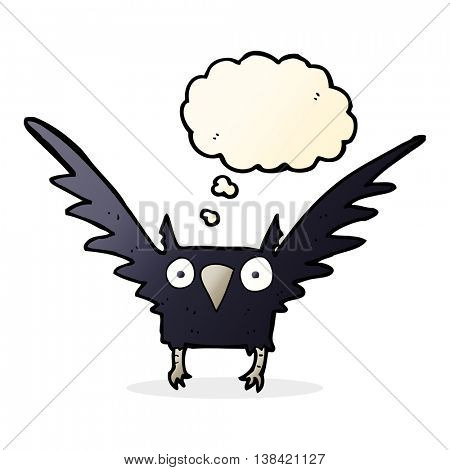 cartoon spooky bird with thought bubble