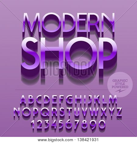 Set of glossy alphabet letters, numbers and punctuation symbols. Vector reflective metallic  logotype with text Modern shop. File contains graphic styles