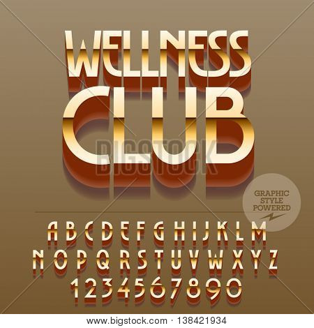Set of glossy golden alphabet letters, numbers and punctuation symbols. Vector reflective sign with text Wellness club. File contains graphic styles