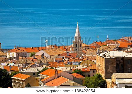 Town of Senj rooftops and waterfront view Primorje Croatia