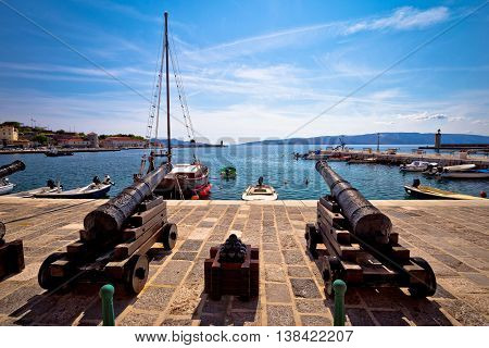 Old cannons in town of Senj waterfront Croatia