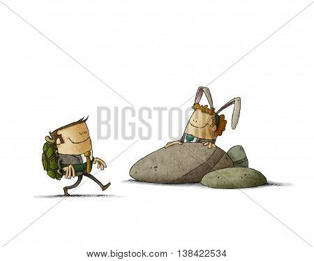 metaphor of The Tortoise and the Hare in business. illustration isolated white background