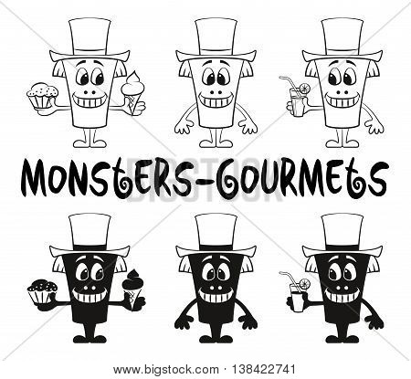 Set of Cute Cartoon Monsters Gourmets, Black Contour and Silhouette Characters in Toppers, Smiling and Eating Juice and Food, Elements for Your Design, Prints and Banners, Isolated on White. Vector