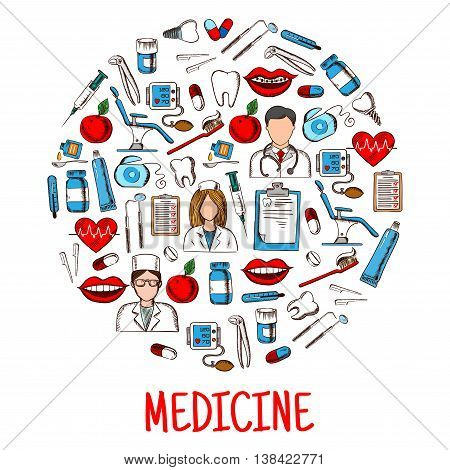 Medicine or healthcare equipment icons in round shape. Nurse and doctor wearing stethoscope, physician and pill, salve and thermometer, dental chair and syringe, mouth with lips and braces on teeth, dental chair and tooth implant, sphygmomanometer.