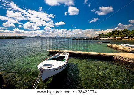 Biograd na moru beach and waterfront view Dalmatia Croatia