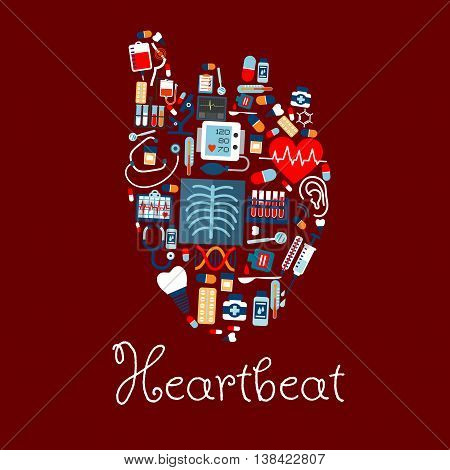 Human heart made of medical or healthcare equipments icons. Heartbeat and pulse, cardiogram and tooth implant, DNA and flask or test tube, microscope and syringe, pill or disposable tablet and stethoscope, cure drop on spoon and thermometer
