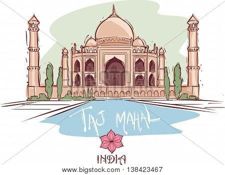 vector illustration of a Taj Mahal ındıa