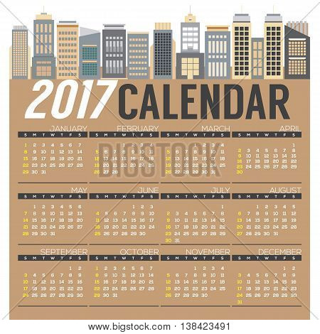 Modern Skyscrapers 2017 Printable Calendar Starts Sunday Vector Illustration. EPS 10