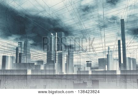 Abstract Contemporary City Background 3 D