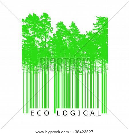 Ecological product bar code concept with bright green trees silhouettes