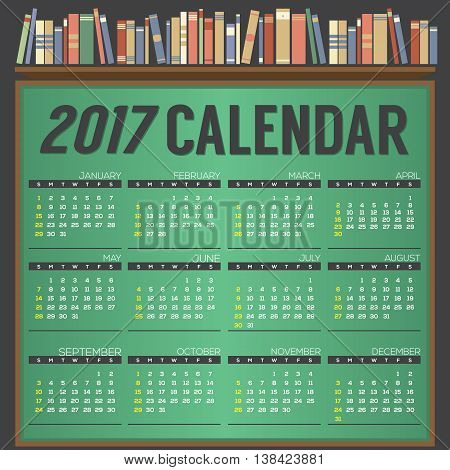 2017 Printable Calendar Starts Sunday On Chalk Board Background. Differently Books On Bookshelf Education Concept Vector Illustration. EPS 10