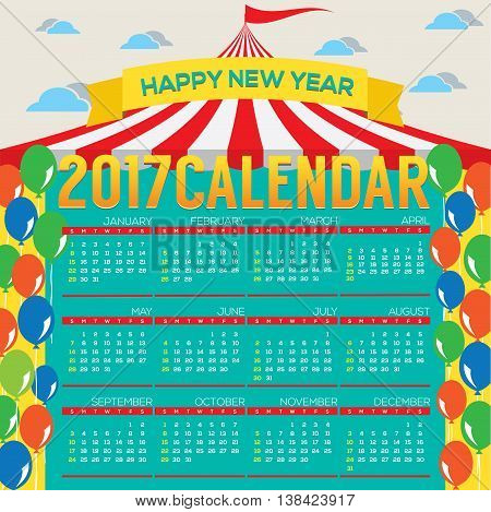 2017 Printable Calendar Starts Sunday Circus Concept Vector Illustration. EPS 10
