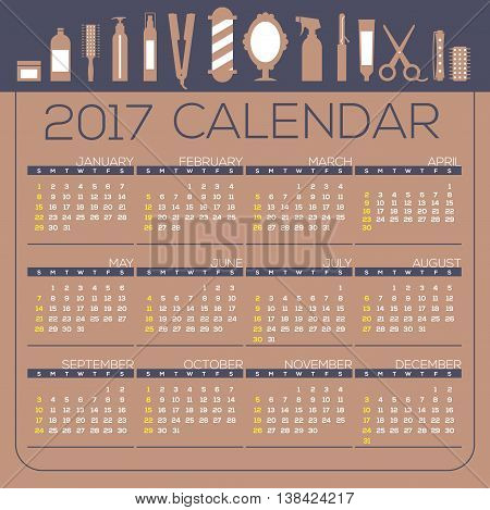 2017 Printable Calendar 12 Months Starts Sunday Hairdresser's Tool Concept Vector Illustration. EPS 10