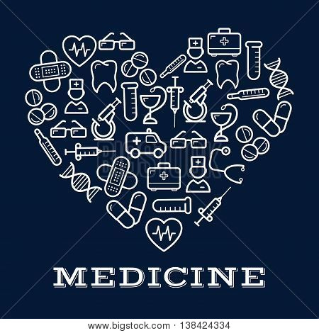 Icons of healthcare or medicine equipment in shape of heart.  Stethoscope or DNA, doctor or medic, pipette or dropper, tablet or pill, first aid kit and ambulance, adhesive bandage or plaster and syringe, glasses and tooth