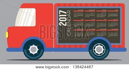 2017 Printable Calendar 12 Months Starts Sunday. Colorful Truck' Side Vector Illustration. EPS 10