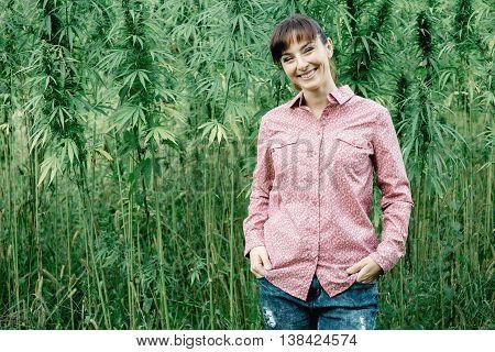 Smiling Woman In The Hemp Field