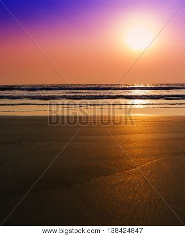 Vertical vibrant unreal dream ocean sunset with tidal waves background backdrop