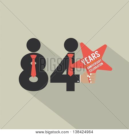84th Years Anniversary Typography Design Vector Illustration. EPS 10