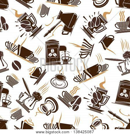 Steaming hot aroma coffee cups with vapor and espresso machine isolated on white seamless pattern. Can be used in kitchen or restaurant, restaurant theme.