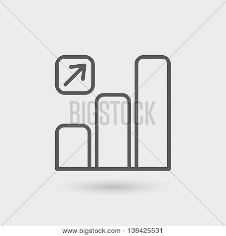 increase graphic thin line icon isolated with shadow