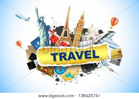 illustration of world famous monument with travel element