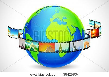illustration of film reel of world famous monument and travel destination like with Statue of Lliberty, Eiffel Tower, Taj Mahal around globe