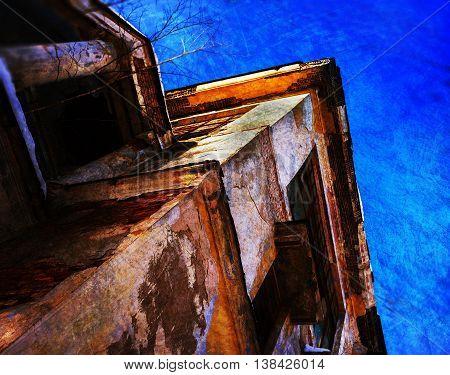 Horizontal vintage cyberpunk perspective building background backdrop postcard