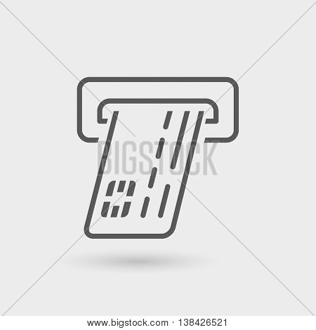 credit card ATM thin line icon isolated with shadow